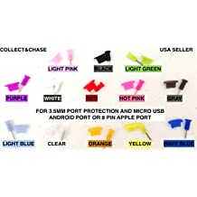 C/&C 3.5MM DUST PLUG BLING GLITTER GEM CHARM for any 3.5mm device apple iPhone or any 3.5mm phone or device MIXED COLORS samsung galaxy HTC motorola LG 10 PACK