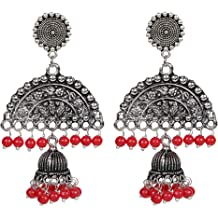 Sansar India Oxidized Lotus Stud Coin Charms Jhumka Jhumki Indian Earrings Jewelry for Girls and Women