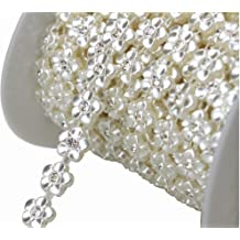 AEAOA 10 Yards 17mm Silver Pearl Rhinestone Chain Trims Sewing Crafts Costume Applique LZ156