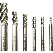 3//8 Shank 6 Piece HHIP 8000-0002 4 Flute High Speed Steel End Mill Set