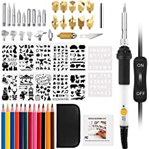 LadyRosian 102 PCS Wood Burining Kit Professional Woodburning Tool with Soldering Iron Pyrography Pen Set with Adjustable Temperature 200~450℃ Creative Tool Set for Embossing//Carving//Soldering Tips