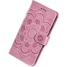 Herbests Compatible with Huawei P20 Lite Case Girl Women Geometric Marble Shockproof Soft Silicone Clear Bumper Glossy Glitter Sparkle Cute Case with Diamond Ring Holder Stand,Blue Pink