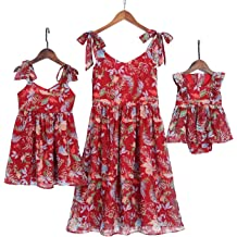 87fdd29a PopReal Mommy and Me Floral Printed Shoulder-Straps Bowknot Halter Chiffon  Beach Mini Sundress