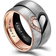 6f52c134d ANAZOZ His & Hers Real Love Heart Promise Ring Stainless Steel Couples Wedding  Engagement Bands