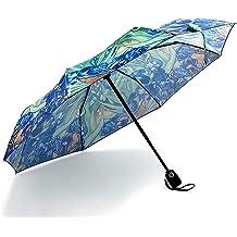 InterestPrint Custom Halloween Pumpkin Full Moon Anti Sun UV Foldable Travel Compact Umbrella