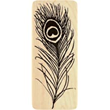 1 3//4 by 4 Inches Single Peacock Feather Rectangle Shaped Genuine Wood Mounted Rubber Inking Stamp {Single Count} Unique /& Custom
