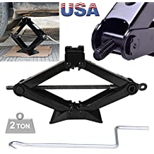 4,409 lbs Steel Scissor Jack Leveling Stabilizer 2 Ton Capacity Heavy Duty Tire Changing Repairing Tool with Speed Handle Saving Strength Design For Trailer//Car //Small RV//Van//Truck MAX Height 360mm