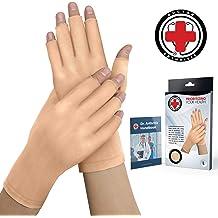 LIOOBO Copper Compression Arthritis Gloves Half Finger Gloves for Women Men Arthritis Symptoms Raynauds Disease Hands Support S Black