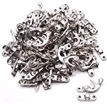 20PCS 32mm x 27mm Yoohey Antique Right Latch Hook Hasp,Swing Arm Latch Plated Silver Tone with Screws for Wood Jewelry Box