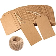 QuWei 100 Pcs 2.76x1.58 Inch Kraft Paper Christmas Gift Tags with String Wedding Hang Tags Vintage Tags with 100 Feet Natural Jute Twine
