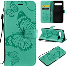 Cfrau Silicone Case with Black Stylus Compatible with Samsung Galaxy A10,Ultra Thin Shock Absorption Diamond Bumper Soft TPU Rubber Flexible Case with Kickstand Ring Holder,Mint Green