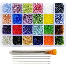 About 325pcs//Color, 24 Colors About 7800pcs in Box 24 Multicolor Assortment Size 2x3mm Craft Seed Beads for Jewelry Making, BALABEAD Size Almost Uniform Glass Seed Beads with Beading Kit