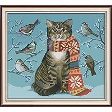 The cat on the shelf 40/×36CM Joy Sunday Cross Stitch Kit 14CT Stamped Embroidery Kits Precise Printed Needlework