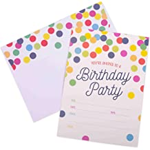 20 5x7 Fill In Cards with Twenty White Envelopes by AmandaCreation Confetti Polka Dot 90th Birthday Party Invitations