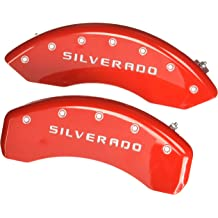Set of 4 MGP Caliper Covers 12197SDD3RD Dodge ll Engraved Caliper Cover with Red Powder Coat Finish and Silver Characters,