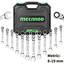 20 mm 6 mm Metric 15 Cr-V 6-Point Sockets METAKOO 3//8-Inch Drive Shallow Impact Socket Set MISS01 with Extension Bar and Universal Joint