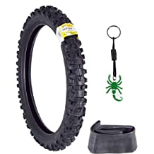 Pirelli Scorpion MX32 Mid Soft Dirt Bike Front and Rear Set MotocrossTube Type Tire with Authentic Pirelli Scorpion Key Chain 70//100-17 F 90//100-14 R