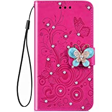 IKASEFU Compatible with iPhone 11 Case,Shiny butterfly Rhinestone Emboss Love shape Floral Pu Leather Diamond Bling Wallet Strap Case with Card Holder Magnetic Flip Cover For iPhone 11,blue