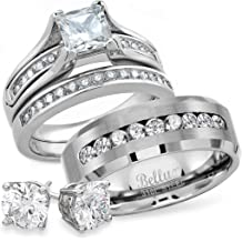 95a315ab8 Wedding Ring Set for Him and Her - 316L Stainless Steel Promise Rings for  Couples -