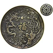 5 Holes AFZSHG Copper Incense Holder and Sticks,Dragon Phoenix Incense Burner Cones Ash Catcher Double Layer Design
