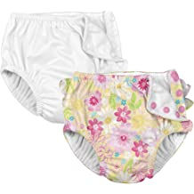 i play Aqua Paradise Flower 24mo Girls 1pc Ruffle Swimsuit with Built-in Reusable Absorbent Swim Diaper