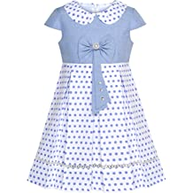c96f034996 Sunny Fashion Girls Dress Polka Dot School Bow Tie Pearl Cap Sleeve Size  4-14