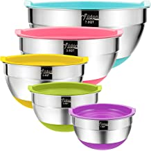 7-5-4-3.5-2.5 QT Mixing WEZVIX Stainless Steel Mixing Bowls with Airtight Lids Set of 5 Nesting Bowls with Non-Slip Silicone Bottom and Measurements for Cooking
