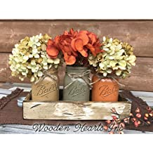 Mason Canning Pint JARS 2 in Wood DRAWER Centerpiece with Handle Distressed Rustic Yellow Mustard
