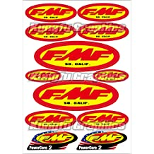 Red Yellow Kungfu Graphics FMF Exhaust Micro Sponsor Logo Racing Sticker Sheet Universal 7.2x 10.2 inch
