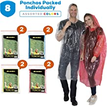 for Men Women /& Teens Wealers Rain Poncho for Adults 8 Pack Reusable /& Waterproof Hood Strings /& Sleeves Outfit for Camping Amusement Parks Disposable Extra Thick Heavy Duty Emergency Ponchos