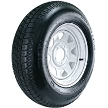 480//400-8 8x3.75//4x4 Wheel with White Powder-Coat Pinstripe Finish LRB and Trailer Tire Assembly Kenda Loadstar