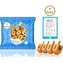 30-Pack Hanukkah Wood Dreidels Medium Sized with English Transliteration Includes 3 Game Instruction Cards!