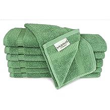 Green SALBAKOS Luxury Hotel /& Spa Turkish Cotton 12-Piece Eco-Friendly Washcloth Set for Bath