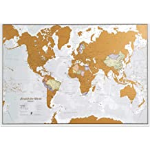 Includes accessory bag Travel Gift Map White Edition with Gold Foil /& vibrant Watercolors Scratch off World Map Wall Poster with U.S States Extra Large 24x32 inches and brush scratcher tools