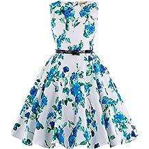 e903946656c Kate Kasin Girls Sleeveless Vintage Print Swing Party Dresses 6-15 Years