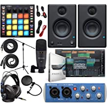 "PreSonus Studio 24c 2x2 USB Type-C Audio//MIDI Interface with Eris E5 XT Pair 2-Way Studio Monitors with EBM Wave Guide Design and 1//4/"" Instrument Cable"