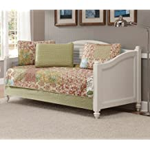 MK Home 5pc Daybed Quilted Coverlet Bedspread Set Patchwork Floral Squares Beige Taupe Rust Light Blue Green White New # Valencia