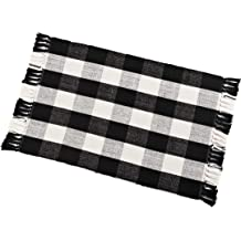 Buffalo Check Rug Washable Checkered Cotton Mat Woven Black And White Plaid Striped Area Rug Tassel For Exterior Outdoor Kitchen Living Room