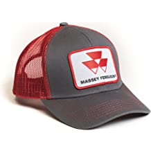 ed70cada J&D Productions, Inc. Massey Ferguson Tractor Hat, Gray with Red Mesh