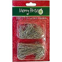 Green-200 pieces Christmas Mini Ornament Hooks,100 pieces