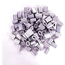 TOUHIA Aluminum Crimping Loop Sleeve for 4mm Diameter Wire Rope and Cable 50Pcs