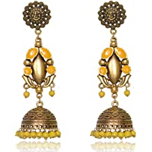 Ethinic Dangling Chandbali With Hanging Beads Jhumki Indian Traditional Jewellery for Stylish Women and Girls by SP Jewels