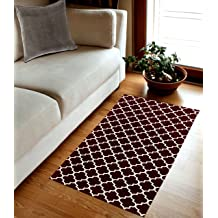 Grey /& Cream TreeWool Decorative Mat Area Accent Rug 27 x 45 Inches Kaleidoscope Design 100/% Cotton Flat Weave
