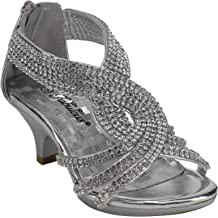 a04444c30fee J.J.F Shoes Fabulous Angel-37K Little Girls Bling Rhinestone Platform Dress  Heels Sandals