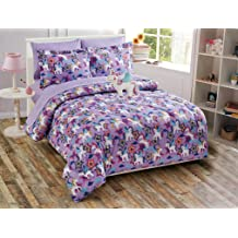 Fancy Collection 2pc Twin Size Quilted Bedspread Set Owls Flowers Purple Pink Beige White New #Owl Purple