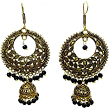 DESI HAWKER Silver Oxidized Earring Bali Jhumki Jhumka Jewelry Bollywood Drop Dangle Hook NI-53