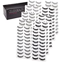 5bca63829fb Celeb Beauty Eyelash Splashes 100 Pair Faux Lashes Variety Pack – Reusable  Fake Eyelashes in 10 Styles – Hypoallergenic Strip False Lashes .