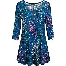 b11aefc9b609fe Nandashe Womens 3/4 Sleeves Floral Tunic Shirts Summer Casual Dressy Blouse  Tops
