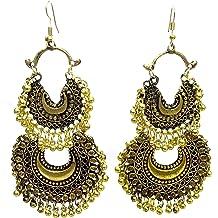 DESI HAWKER Golden Oxidized Earring Bali Jhumki Jhumka Jewelry Bollywood Drop Dangle Chandelier Hoop Chandbali NI-174