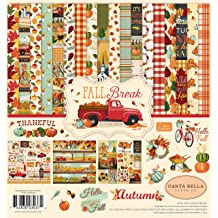 Carta Bella Paper Company CBFAM105045 Autumn Harvest Die /& Stamp Set die red Teal Green Orange Stamp Brown Cream